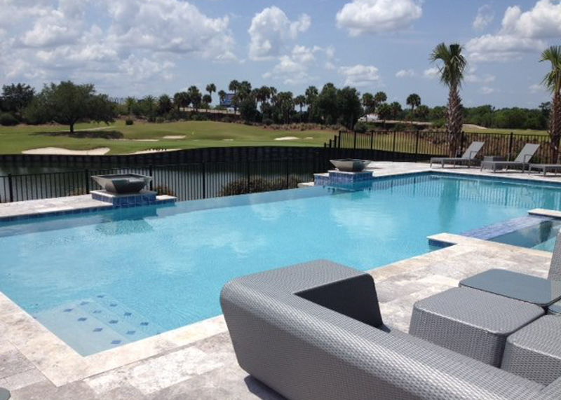 Outdoor Pool Area Overlooking Golf Course