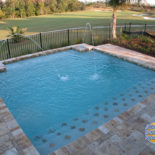 Square Pool with Fountains Overlooking Golf Course